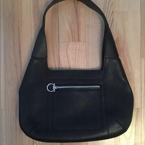 Salvatore Ferregamo Hobo Bag Purse Black Leather